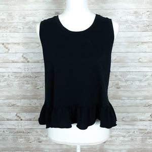 Wild Fable Cropped Tank Top L Ruffle Black 455